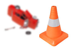 Emergency cone and a car Stock Photo