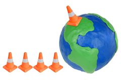 Emergency cone and globe Stock Images