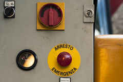 Emergency controls of a forklift Royalty Free Stock Image