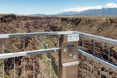 Call Box on the Rio Grande Gorge Bridge. Stock Photo