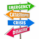 Emergency Crisis Catastrophe Disaster Warning Signs. 3D Royalty Free Stock Images