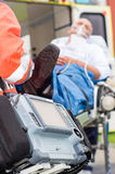 Emergency defibrillator patient ambulance Royalty Free Stock Photos