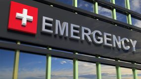 Emergency Department Building Sign Closeup, With Sky Royalty Free Stock Image