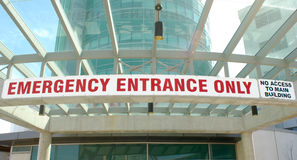 Emergency Department Sign. Emergency Entrance sign in a new hospital royalty free stock image