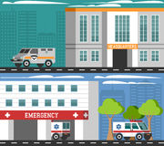 Emergency Departments Vehicles Flat Banners Set Stock Photos