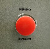 Emergency Disconnect. Switch to cut all power to an electric laboratory at the College of Engineering royalty free stock photography
