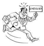 Emergency doctor. Brush stroke emergency doctor line art cartoon Stock Photo