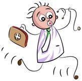Emergency doctor kid. Line art funny cartoon Stock Photography