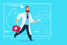 Emergency Doctor Run With Medicine Box First Aid Medical Clinics Worker Hospital. Flat Vector Illustration Stock Image