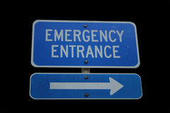Emergency Entrance Sign. Isolated on black Royalty Free Stock Photos