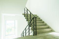 Emergency and evacuation exit stair. In the building royalty free stock photos