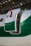 Emergency exit on an aircraft Stock Photo