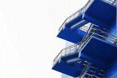 Emergency exit in case of fire, fire escape of a blue building Royalty Free Stock Photography