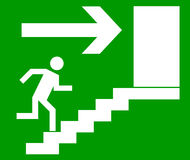 Emergency exit door,. Sign with human figure on stairs, vector Stock Image
