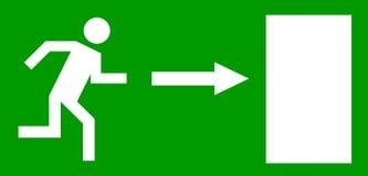 Emergency exit door. Sign with human figure Stock Photos