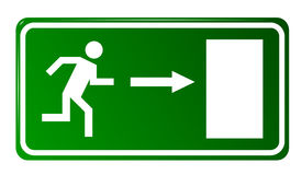 Emergency exit door. Sign with human figure Royalty Free Stock Image