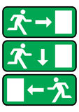 Emergency exit icon. Three emergency exit icons with arrow vector illustration