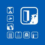 Emergency exit icon, set of isolated vector. Emergency exit icon. White sign on the blue background. Graphic pictograms. Exclusive symbols. Set of isolated stock illustration