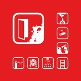 Set of isolated vector icons. Graphic pictograms. Emergency exit icon. White sign on the red background. Graphic pictograms. Exclusive symbols. Set of isolated vector illustration
