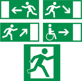 Emergency exit icons. Emergency exit icon with man running in s Royalty Free Stock Photos
