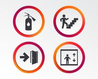 Emergency exit icons. Door with arrow sign. Emergency exit icons. Fire extinguisher sign. Elevator or lift symbol. Fire exit through the stairwell. Infographic Royalty Free Stock Photos