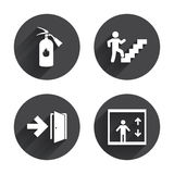 Emergency exit icons. Door with arrow sign Stock Photos