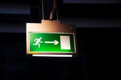 Emergency exit, illuminated board Stock Photos