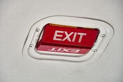 Emergency Exit indicator on cieling of Beechcraft 1900D stock photos