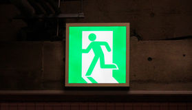 Emergency exit. In Japan, Emergency exit signs stock photography
