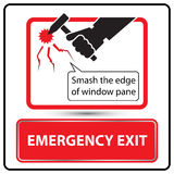 Emergency exit label for bus  Stock Photography