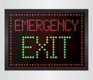 Emergency Exit LED digital Sign Stock Photo