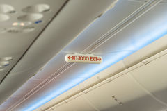 Emergency Exit Row in Airplane Stock Photography