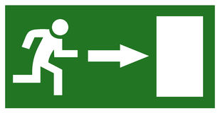 Emergency exit sign stock illustration