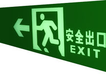 Emergency exit sign Stock Images