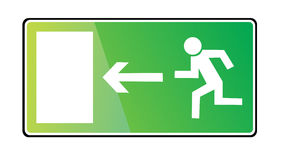 Emergency exit sign. On white background Stock Photos