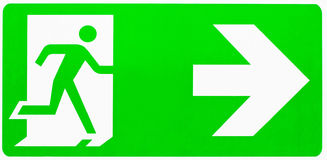 Emergency exit sign. Isolated on white background Royalty Free Stock Images