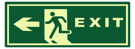 Emergency exit sign. Green selfglowing emergency exit sign Stock Images