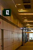 Emergency exit sign in  building. At chonburi Thailand Stock Photo