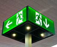 Emergency exit sign Stock Photos
