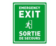 Emergency Exit Sign in English and French - Sortie de Secours - Printable Bilingual Safety Sign royalty free illustration