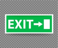 Emergency Exit Sign with Green Color on transparent background. Vector illustration Royalty Free Stock Photography