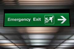 Emergency Exit Sign. Hang from ceiling Stock Photos