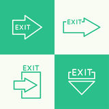 Emergency exit sign. Icon. vector. Outline  abstract background Stock Photography