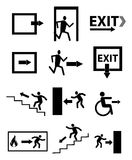Emergency exit sign icons set Royalty Free Stock Images