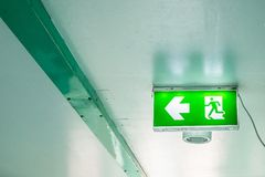 Emergency exit sign on interior building.  stock photography
