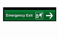 Emergency Exit Sign with isolate white background Royalty Free Stock Images