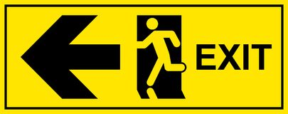 Emergency exit sign. Man running out fire exit Stock Photography