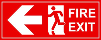 Emergency exit sign. Man running out fire exit Stock Image