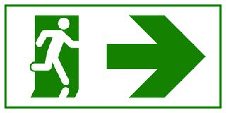 Emergency exit sign. Man running out fire exit.  Royalty Free Stock Photo