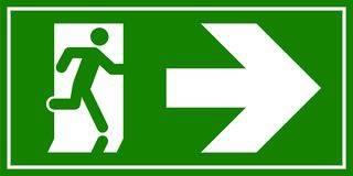 Emergency exit sign. Man running out fire exit.  Royalty Free Stock Photography